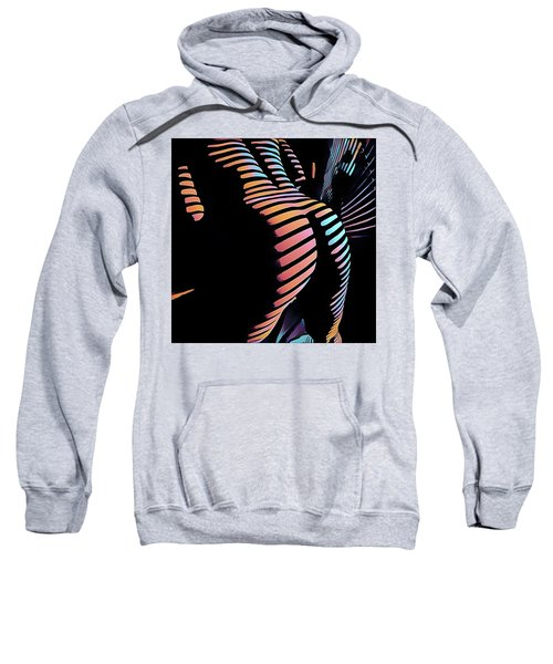 Sweatshirt featuring the digital art 6799s-nlj Zebra Striped Nude By Window Rendered In Composition Style by Chris Maher