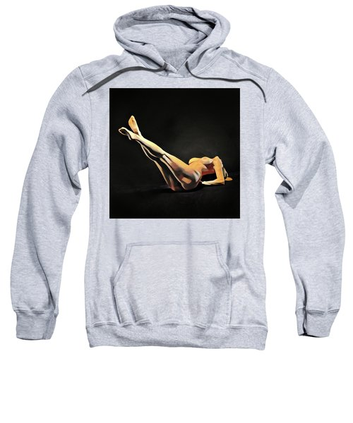 Sweatshirt featuring the digital art 6818s-amg Nude Watercolor Of Sensual Mature Woman Legs Up by Chris Maher