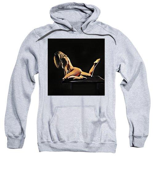 7038s-amg Watercolor Of Beautiful Mature Nude Woman Sweatshirt