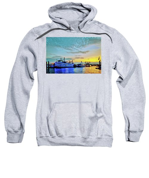 View From The Water Around The River Alster And Elbe, Waterfront And Warehouse District In Hamburg Sweatshirt