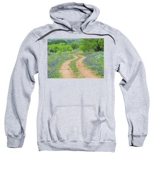A Dirt Road Lined By Blue Bonnets Of Texas Sweatshirt