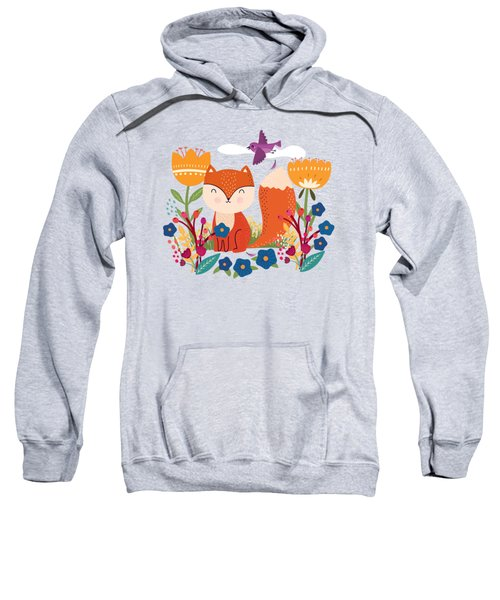 A Fox In The Flowers With A Flying Feathered Friend Sweatshirt