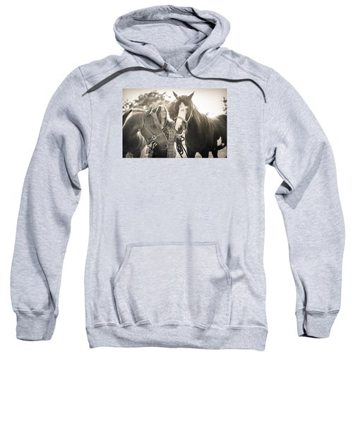 A Girl And Horses In The Sun Sepia Sweatshirt