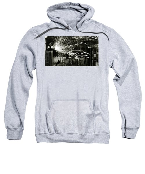 A Multiple Exposure Picture Of Tesla With His Magnifying Transmitter Sweatshirt
