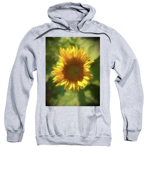 A Single Sunflower Showing It's Beautiful Yellow Color Sweatshirt