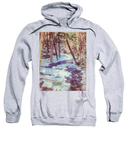 A Small Stream Meandering Through Winter Landscape. Sweatshirt