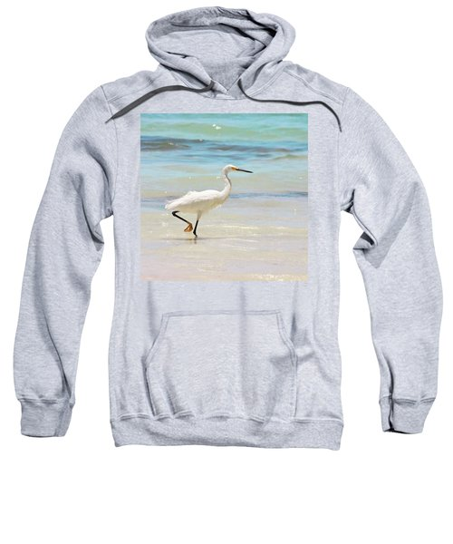 A Snowy Egret (egretta Thula) At Mahoe Sweatshirt by John Edwards
