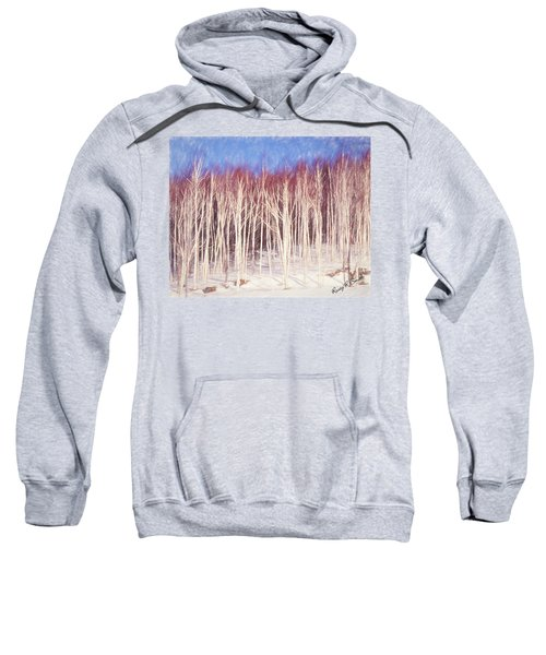 A Stand Of White Birch Trees In Winter. Sweatshirt