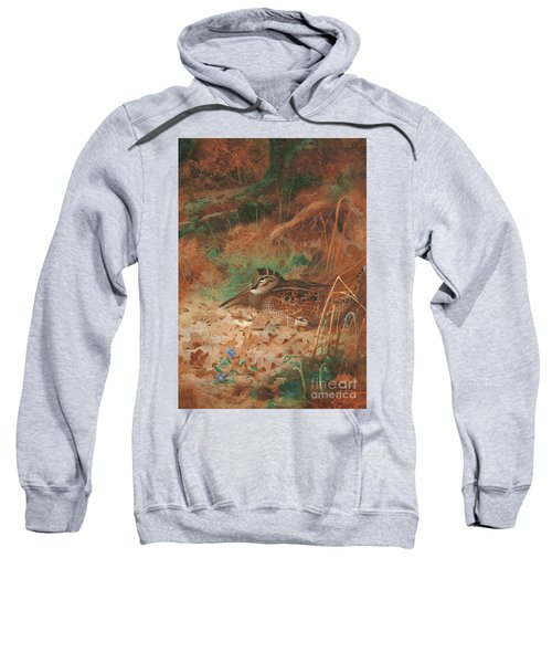 A Woodcock And Chick In Undergrowth Sweatshirt by Archibald Thorburn