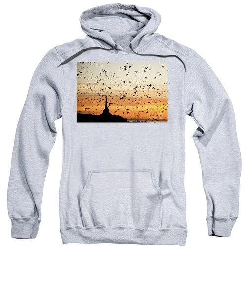 Aberystwyth Starlings At Dusk Flying Over The War Memorial Sweatshirt