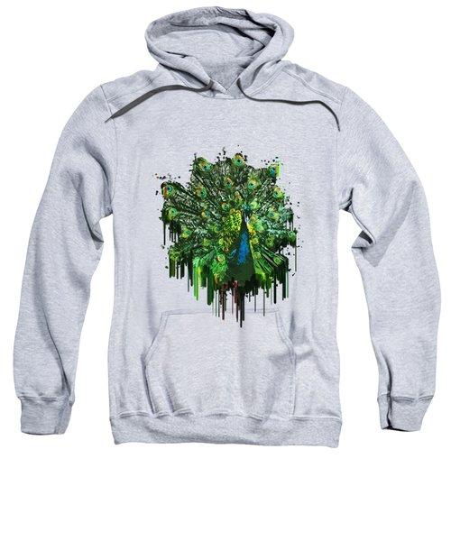Abstract Peacock Acrylic Digital Painting Sweatshirt by Georgeta Blanaru