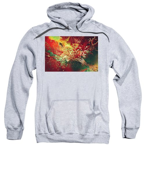 Sweatshirt featuring the painting Abstract Space by Tithi Luadthong