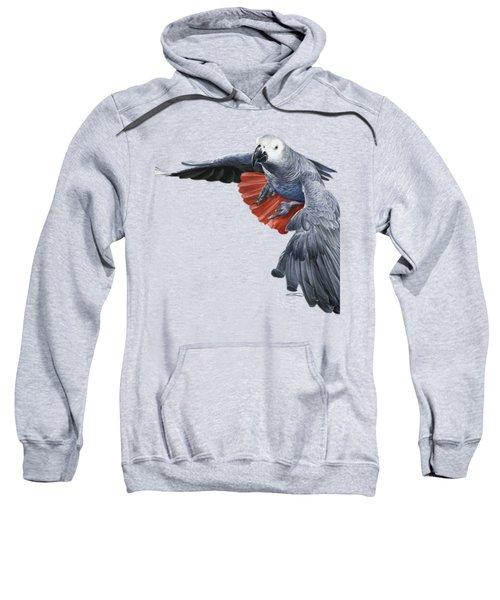 African Grey Parrot Flying Sweatshirt