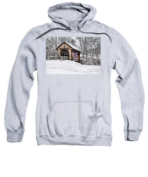 After A Winter Snow Storm Cilleyville Covered Bridge  Sweatshirt