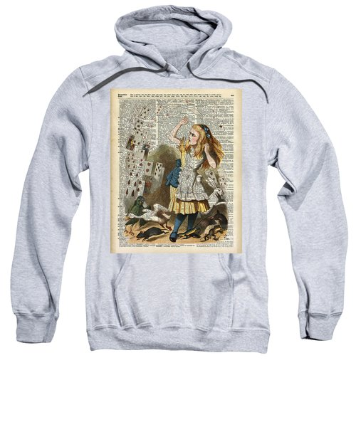 Alice In The Wonderland On A Vintage Dictionary Book Page Sweatshirt