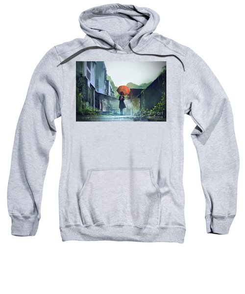 Sweatshirt featuring the painting Alone In The Abandoned Town by Tithi Luadthong