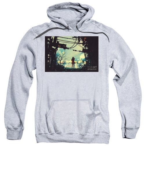 Sweatshirt featuring the painting Alone In The Abandoned Town#2 by Tithi Luadthong
