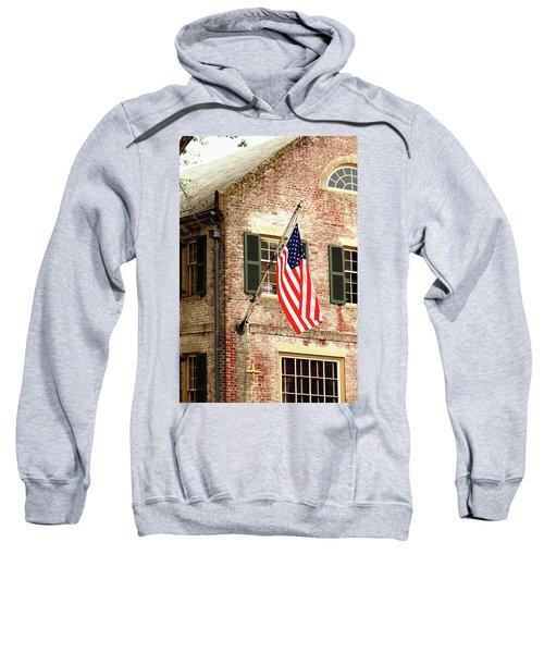 American Flag In Colonial Williamsburg Sweatshirt