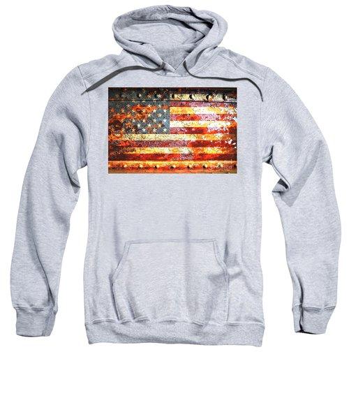 American Flag On Rusted Riveted Metal Door Sweatshirt