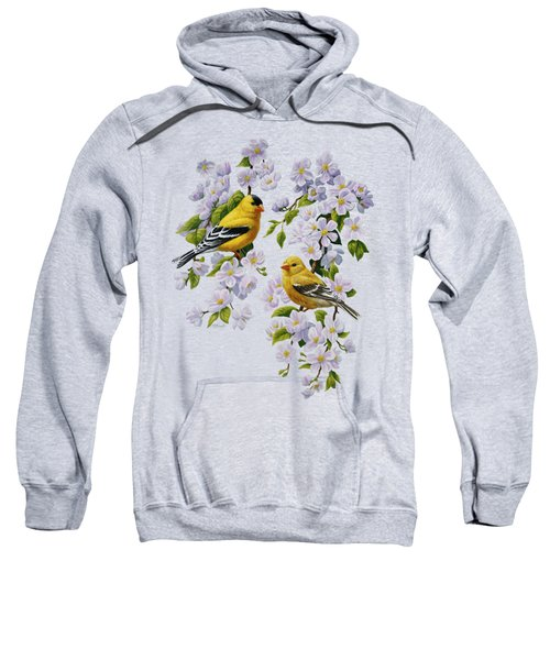 American Goldfinches And Apple Blossoms Sweatshirt
