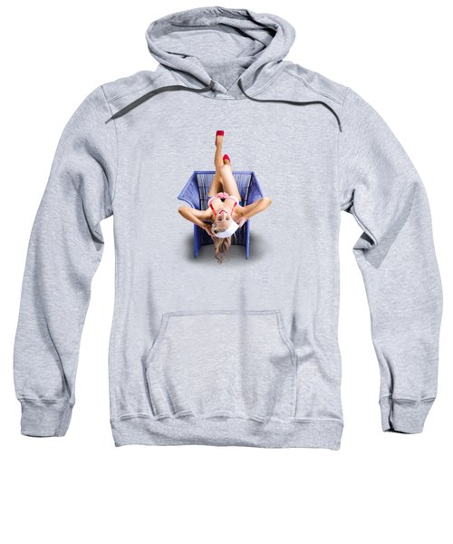 Sweatshirt featuring the photograph American Pinup Woman Upside Down On Cane Chair by Jorgo Photography - Wall Art Gallery