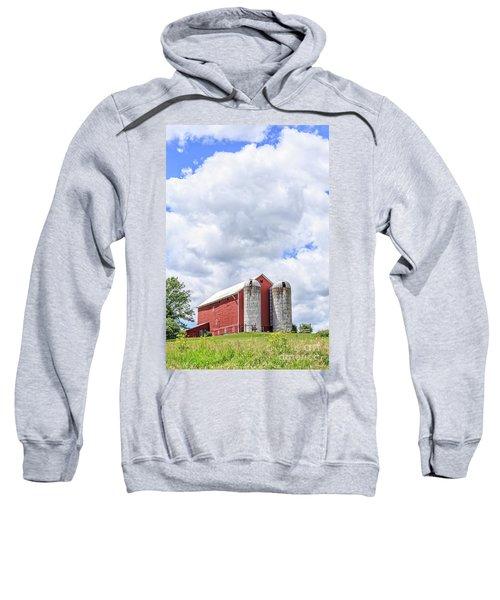 Amish Red Barn And Silos Sweatshirt