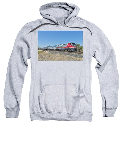 Sweatshirt featuring the photograph Amtrak 42  Veteran's Special by Jim Thompson