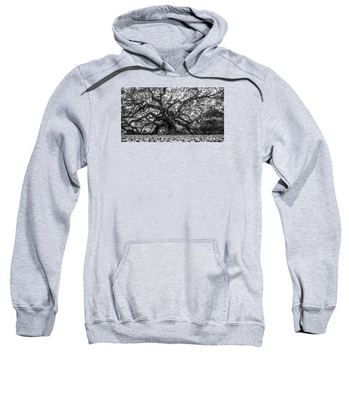 Angel Oak Tree Black And White  Sweatshirt