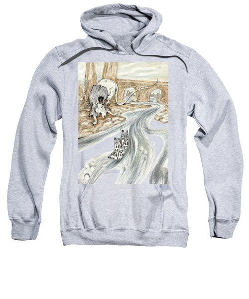 Angry Rat Pursuing Tin Soldier's Paper Boat - Tall Panoramic - Illustration Fragment Sweatshirt