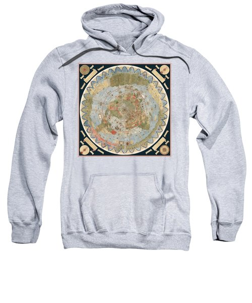 Antique Maps - Old Cartographic Maps - Flat Earth Map - Map Of The World Sweatshirt