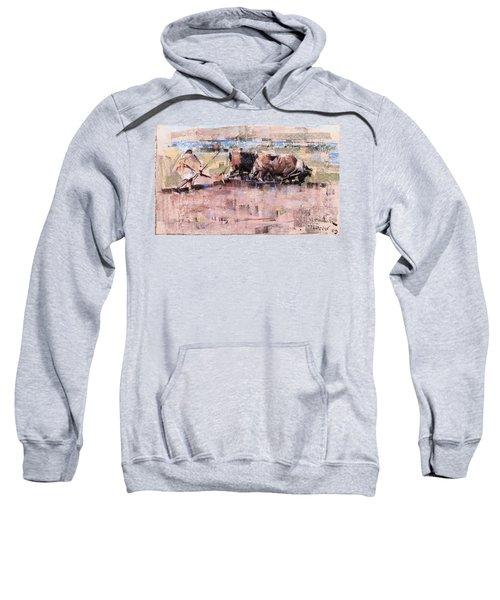 Arab Ploughing With Bullocks Sweatshirt