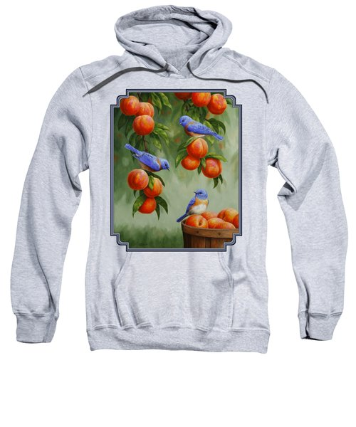 Bird Painting - Bluebirds And Peaches Sweatshirt