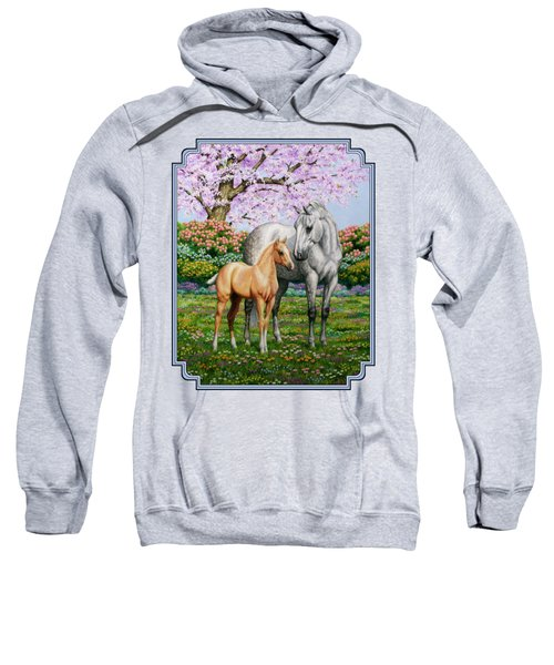 Spring's Gift - Mare And Foal Sweatshirt by Crista Forest