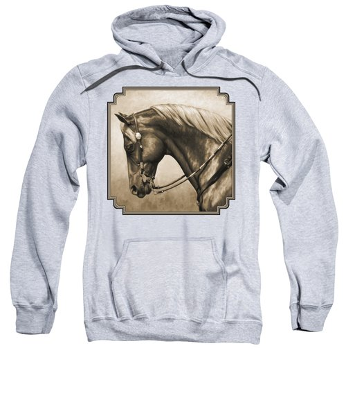 Western Horse Painting In Sepia Sweatshirt by Crista Forest