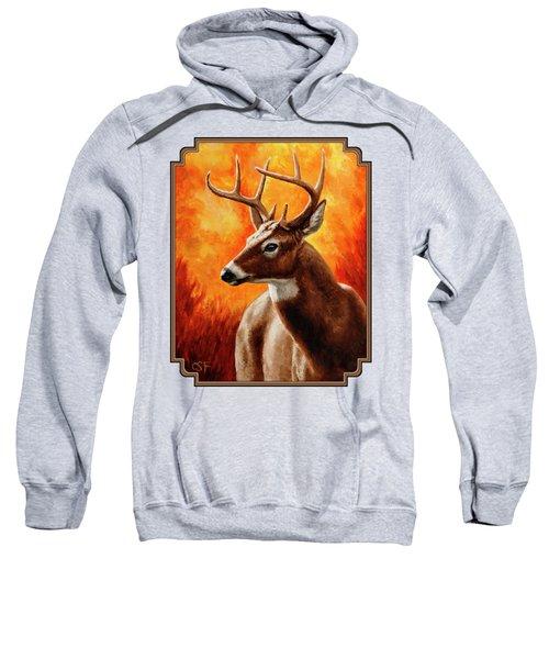 Whitetail Buck Portrait Sweatshirt by Crista Forest