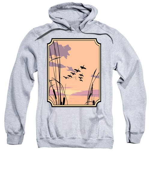 Abstract Ducks Sunset 1980s Acrylic Ducks Sunset Large 1980s Pop Art Nouveau Painting Retro      Sweatshirt by Walt Curlee