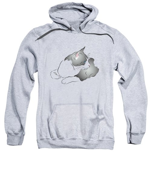 Grey And White Cat In Profile Graphic Sweatshirt