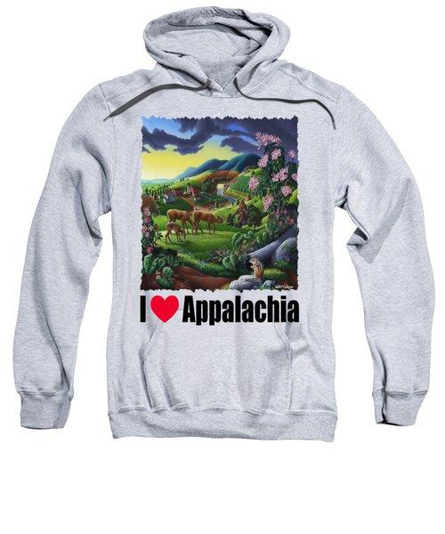 I Love Appalachia - Deer Chipmunk High Meadow Appalachian Landscape 1 Sweatshirt
