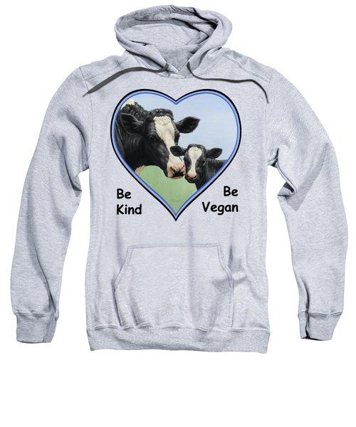 Holstein Cow And Calf Blue Heart Vegan Sweatshirt by Crista Forest