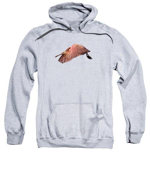 Roseate Spoonbill In Flight Sweatshirt by John Harmon