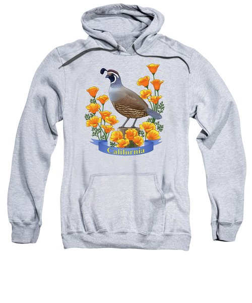 California Quail And Golden Poppies Sweatshirt by Crista Forest