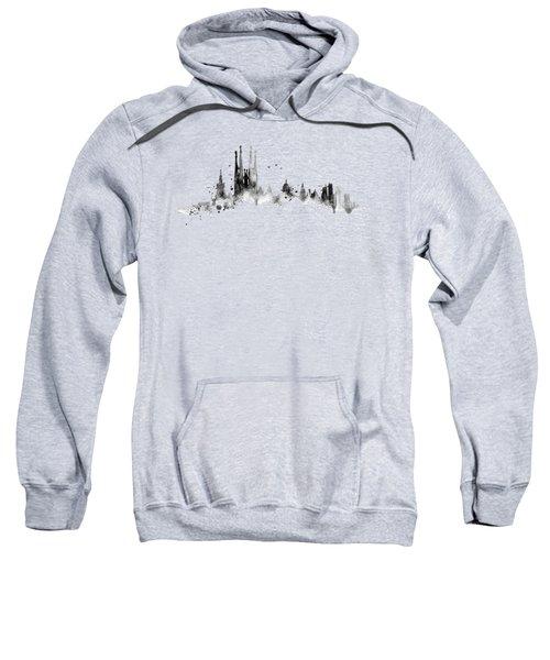 White Barcelona Skyline Sweatshirt by Aloke Creative Store