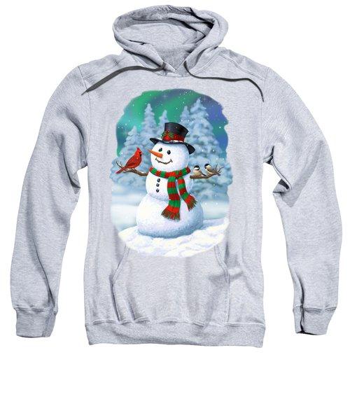 Sharing The Wonder - Christmas Snowman And Birds Sweatshirt
