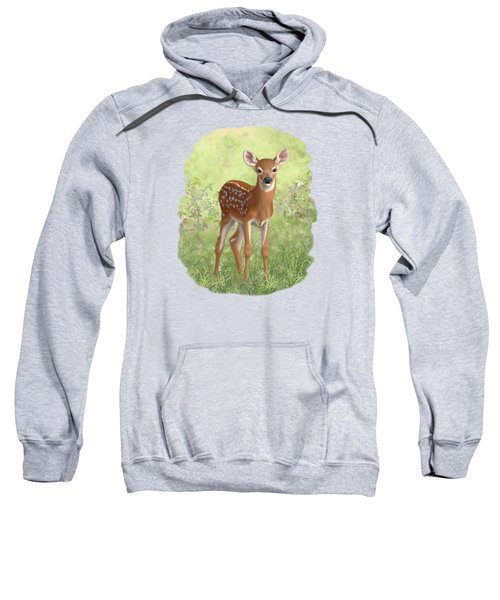 Cute Whitetail Deer Fawn Sweatshirt by Crista Forest