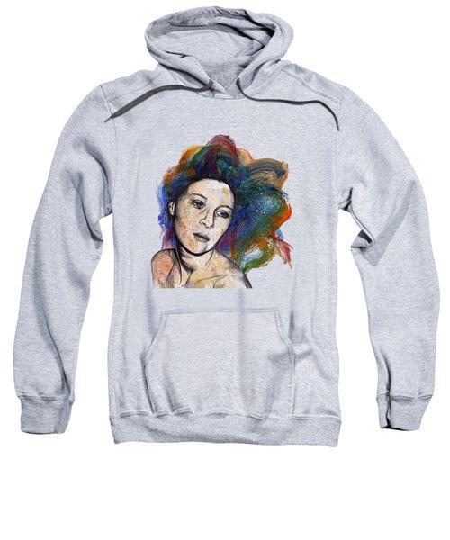 Crystal - Street Art Female Portrait With Rainbow Hair Sweatshirt
