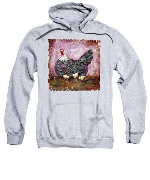 Vintage Blue Hen With Chicks Fresco  18x24 Sweatshirt