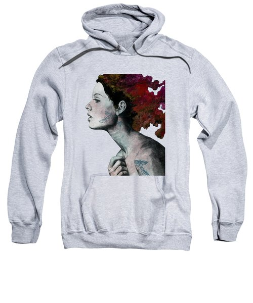 Moral Red Eclipse - Colorful Hair Woman With Moths Tattoos Sweatshirt