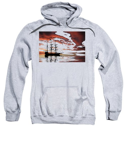 Pirate Ship At Sunset Sweatshirt by Shane Bechler