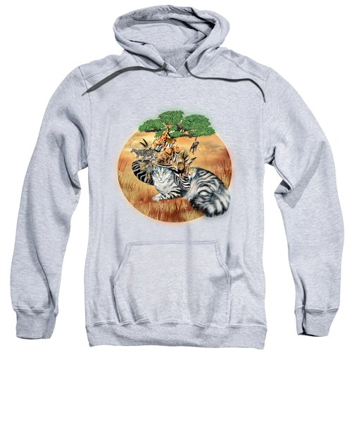 Cat In The Safari Hat Sweatshirt by Carol Cavalaris