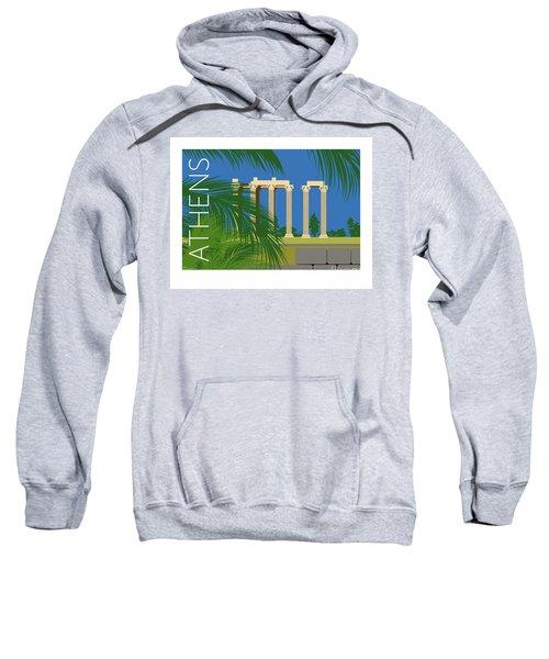 Sweatshirt featuring the digital art Athens Temple Of Olympian Zeus - Blue by Sam Brennan